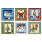 Christmas Squares Santa Claus Coming To Town Quilt Fabric Panel
