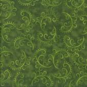 Swirls on Dark Green Saturday Afternoon Quilting Fabric