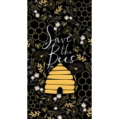 Save The Bees Daisies Beehive Honeycomb Quilting Fabric Panel