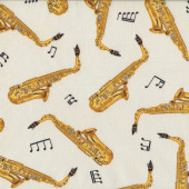 Saxophones on White Quilting Fabric