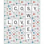 Scrabble Letters Cosy Love Sweet Board Game Licensed Quilt Fabric Panel