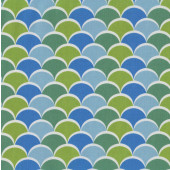 Noveau Scales Design Green Blue Quilting Fabric