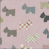 Tartan Check Scottie Dogs on Light Pink Quilting Fabric