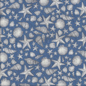 Sea Shells on Blue Starfish Ocean Beach Quilting Fabric