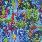Seahorses Coral Seaweed Quilting Fabric