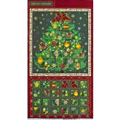 Christmas Tree Advent Calendar Seasons Greetings Quilting Fabric Panel