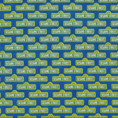 Green Sesame Street Signs on Blue Kids Licensed Quilting Fabric