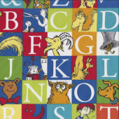 Dr Seuss ABC Alphabet Letters in Squares Kids Quilting Fabric