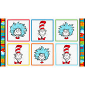 Dr Seuss Cat in The Hat Squares Kids Quilting Fabric Panel