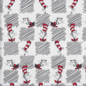 Dr Seuss Cat in The Hat on White Kids Quilting Fabric