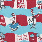 Dr Seuss Cat in The Hat Thing 1 Thing 2 on Blue Quilting Fabric