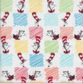 Dr Seuss Cat in The Hat on White with Colours Kids Quilting Fabric