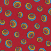 Dr Seuss Oh The Places You'll Go Bright Circles on Red Kids Quilting Fabric