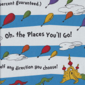 Dr Seuss Oh The Places You'll Go Blue Stripe Balloons Kids Quilting Fabric