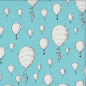 Dr Seuss Oh The Places You'll Go White Balloons on Blue Kids Quilting Fabric
