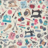 Sew Vintage Sewing Machines Thread on Cream Quilting Fabric