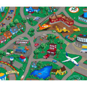 Airport Construction Helicopter Car Racing Truck Roads Boys Quilting Fabric Panel