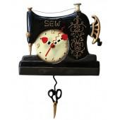 Vintage Stitch Sewing Machine Black Pendulum Wall Clock