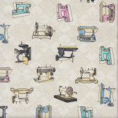 Vintage Sewing Machines on Cream Cute as a Button Quilting Fabric