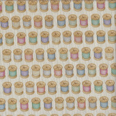 Sewing Reels on Cream Quilting Fabric