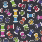 Colourful Sewing Reels of Thread Design LAMINATED Water Resistant Slicker Fabric
