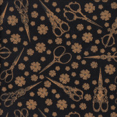Golden Brown Scissors Flowers on Black Quilting Fabric