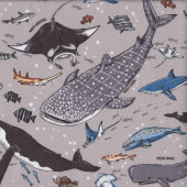 Sharks Whales Turtles Fish Wildlife Ocean Animals on Grey Fabric