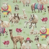 Sheep with Knitted Coats and Hats Knit N Purl Quilting Fabric