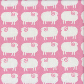 Cute White Sheep on Pink Girls Kids Quilting Fabric