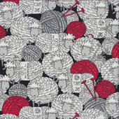 Sheep Balls of Wool Yarn Knitting Quilting Fabric