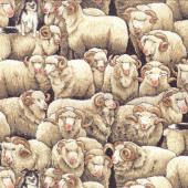 Merino Sheep Border Collie Dog Farm Animal Country Quilting Fabric