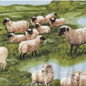 Sheep Farm Animals Country Grass Quilting Fabric