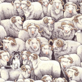 Merino Sheep Border Collie Dog Farm Animal Grey Quilting Fabric