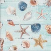 Shells Starfish Seahorses Beach Ocean Light Blue Quilting Fabric
