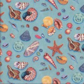 Shells Clams Starfish By The Sea Ocean Quilting Fabric