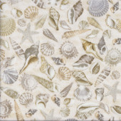 Sea Shells on Cream Beach Sand Landscape Quilting Fabric