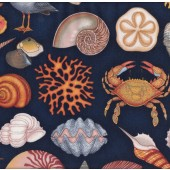 Shells Starfish Seagulls Crabs on Navy Ocean Nature Landscape Quilt Fabric