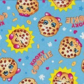 Shopkins Kooky Cookie Grocery Shopping Girls on Blue Licensed Quilt Fabric