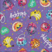 Shopkins on Purple SPK Happy Kooky Quilting Fabric