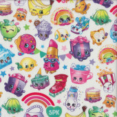 Shopkins Characters on White Lippy Lips Rainbows Quilting Fabric