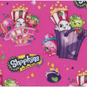 Shopkins In Baskets Shopping Bags Girls on Pink Licensed Quilt Fabric