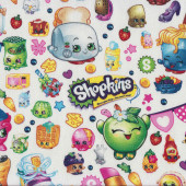 Shopkins Fun Grocery Store Shopping Girls on White Licensed Quilt Fabric