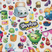 Shopkins on White Quilting Fabric Remnant 46cm x 112cm