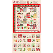 Christmas Silent Night Advent Calendar Houses Quilting Fabric Panel
