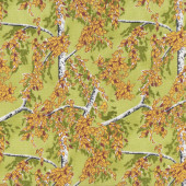 Silver Birch Trees with Leaves Landscape Nature Quilting Fabric