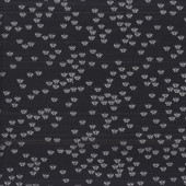 Tiny Silver Metallic Butterflies on Black Quilting Fabric