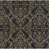 Sewing Machine Metallic Gold on Black Quilting Fabric