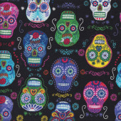 Colourful Skulls on Black Roses Flowers Quilting Fabric