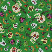 Skulls on Green Ghosts Mexican Hot Tamale Quilting Fabric