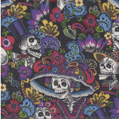 Skulls Catrina Chiquita on Black LAMINATED Water Resistant Slicker Fabric